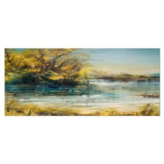Designart 'Trees by the Lake' Landscape Metal Wall Art