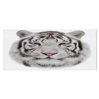Designart 'White Bengal Tiger' Animal Metal Wall Art