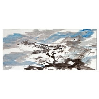 Designart 'Chinese Pine Tree' Trees Metal Wall Art
