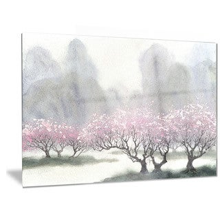 Designart 'Flowering Trees at Spring' Landscape Metal Wall Art