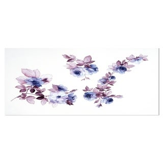 Designart 'Watercolor Flowers' Floral Metal Wall Art
