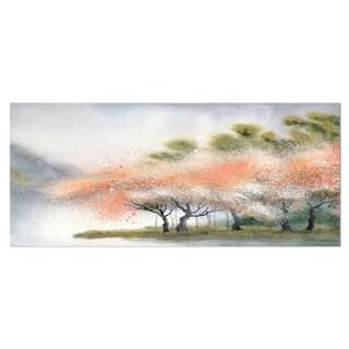 Designart 'Trees with Flowers Near River' Landscape Metal Wall Art