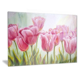 Designart 'Tulips in a Row' Floral Metal Wall Art