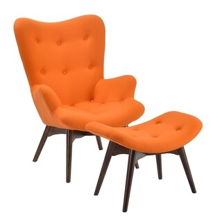 Poly and Bark Orange Contour Lounge Chair and Ottoman