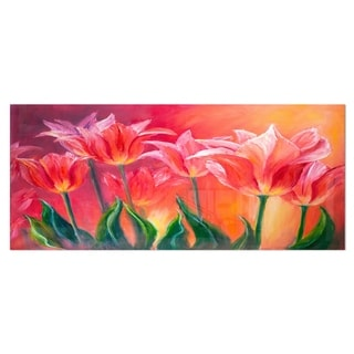 Designart 'Tulips in Red Shade' Floral Metal Wall Art