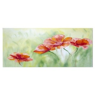 Designart 'Poppies in Light Green' Floral Metal Wall Art