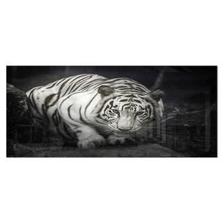 Designart 'White Tiger' Animal Photography Metal Wall Art