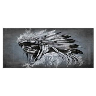 Designart 'American Indian Tattoo Art' Portrait Metal Wall Art