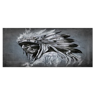 Designart 'American Indian Tattoo Art' Portrait Metal Wall Art