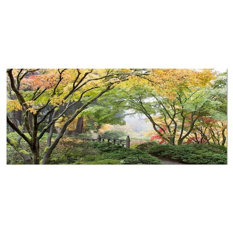 Designart 'Maple Tree Canopy by Bridge' Photography Metal Wall Art