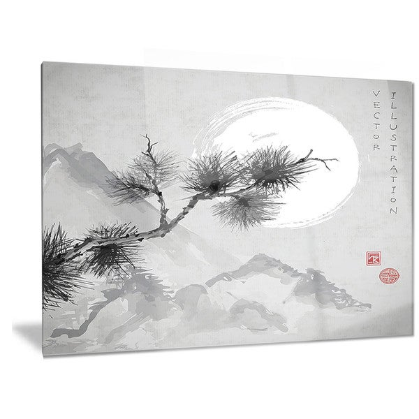 Shop Designart \'Pine Tree Branch\' Japanese Metal Wall Art - On Sale ...
