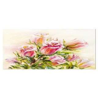 Designart 'Rose Oil Painting' Floral Metal Wall Art