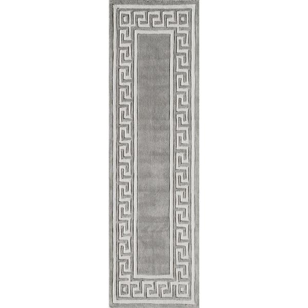 Momeni Bliss Grey Olympus Border Hand-Tufted Runner Rug (2'3 X 8')