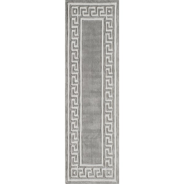 "Momeni Bliss Grey Olympus Border Hand-Tufted Runner Rug (2'3 X 8') - 2'3"" x 8'"