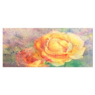 Designart 'Yellow Rose Watercolor' Floral Metal Wall Art