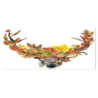 Designart 'Roe Deer with Flowers' Digital Art Floral Metal Wall Art