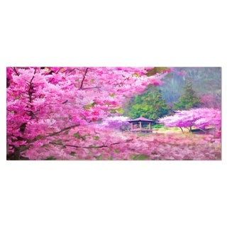 Designart 'Japanese Cherry Flowers' Floral Metal Wall Art