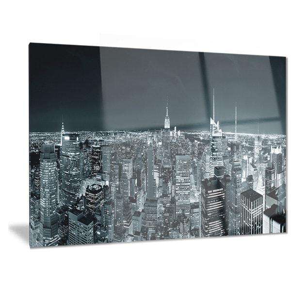 Cityscape Wall Art designart 'new york city skyline at night' cityscape photo metal