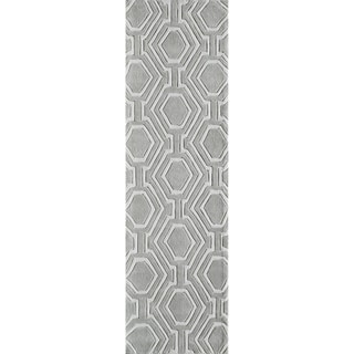 Momeni Bliss Grey Labyrinth Hand-Tufted Runner Rug (2'3 X 8')