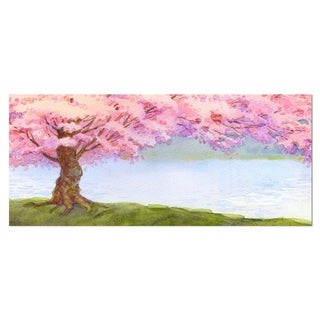 Designart 'Flowering Pink Tree by Lake' Floral Metal Wall Art