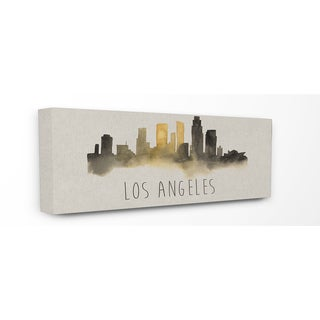 Los Angeles Skyline Silhouette Stretched Canvas Wall Art