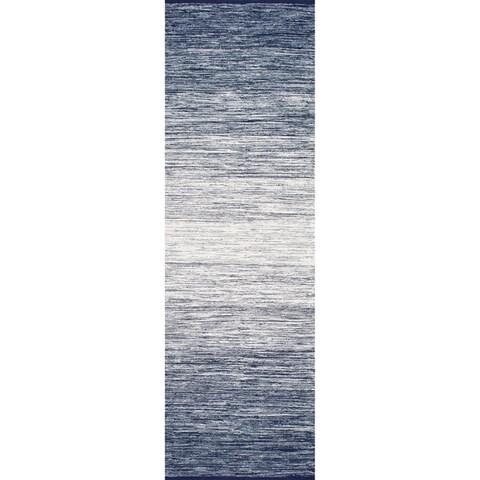 nuLOOM Blue Handmade Flatweave Cotton Faded Area Rug