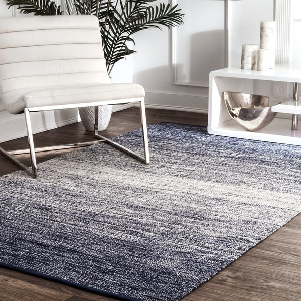 nuLOOM Blue Handmade Flatweave Cotton Faded Area Rug. Opens flyout.