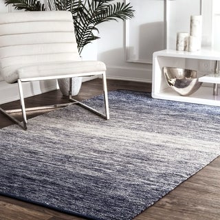 nuLOOM Handmade Flatweave Cotton Faded Blue Rug (7'6 x 9'6)