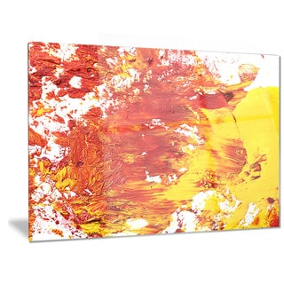 Designart 'Textured Red and Yellow Art' Abstract Metal Wall Art
