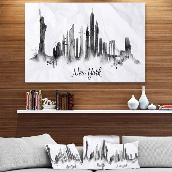 Designart Silhouette Ink New York Cityscape Metal Wall Art Overstock 11868012