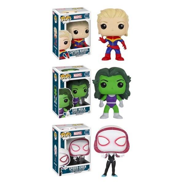 Funko Action Figures Marvel POP! Vinyl Unmasked Captain Marvel, She-Hulk, and Spider Gwen Collectors' Set: