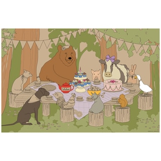 Lullubee Paper 30.25-inch x 1.5-inch x 1.5-inch Animal Picnic Coloring Mural