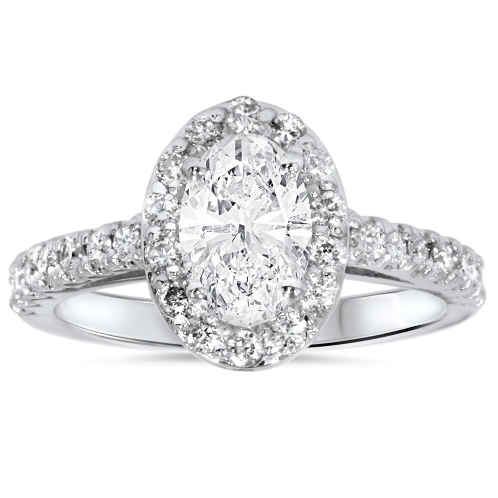 14k White Gold 1 1 2ct Oval Diamond Halo Engagement Ring Clarity Enhanced On Sale Overstock 11868204