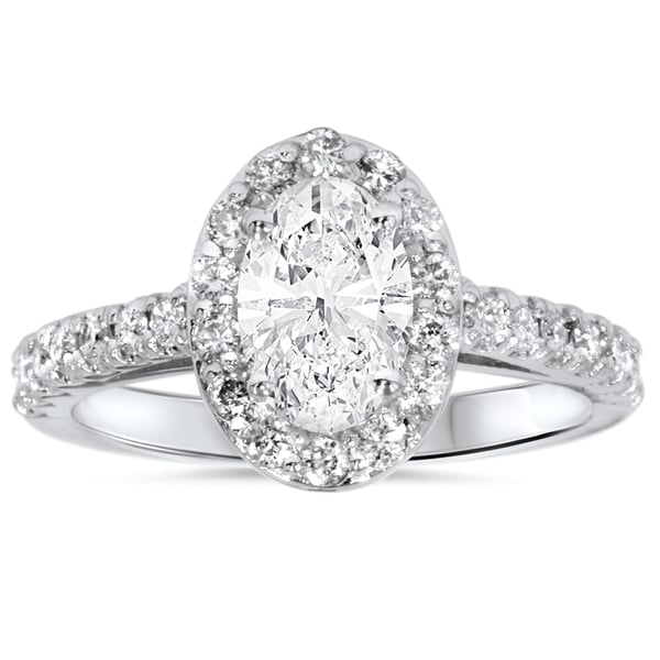 Shop 14k White Gold 1 1/2ct Oval Diamond Halo Engagement