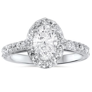14k White Gold 1 1/2ct Oval Diamond Halo Engagement Ring