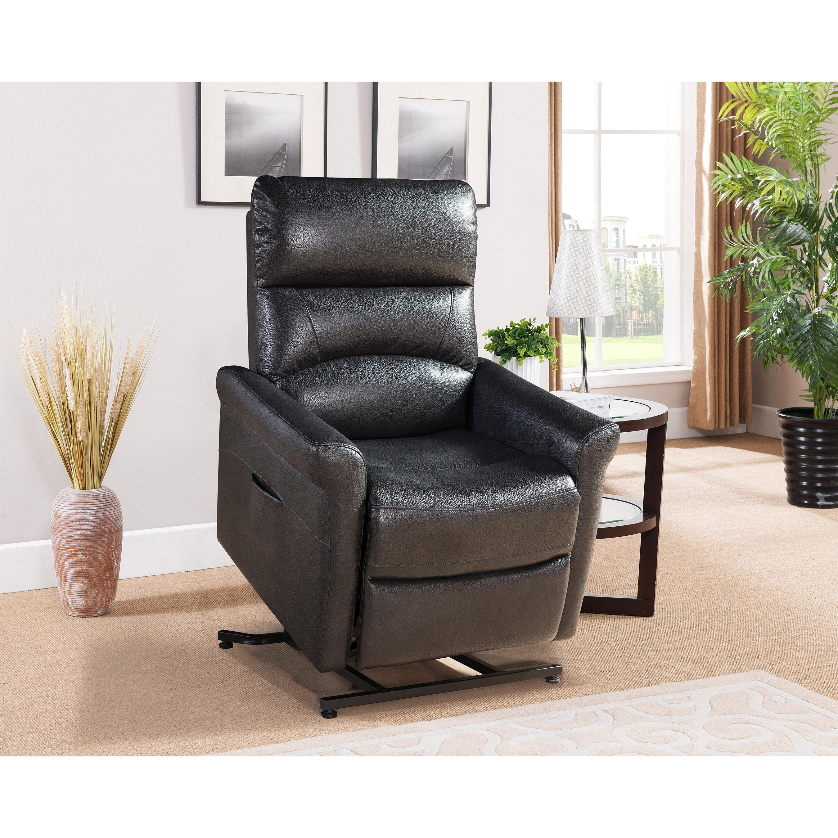 AC Pacific Colby Black Reclining Power Lift Chair, Size S...