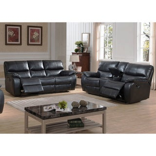 Evan Transitional Reclining Sofa and Loveseat with Storage Console 2-piece Set