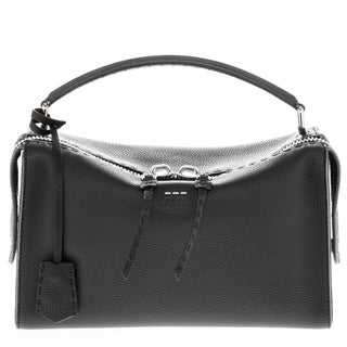 Fendi 'Lei Selleria' Grained Leather Single Handle Boston Bag