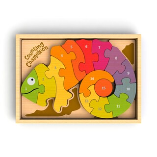 BeginAgain Toys Bilingual Multicolor Wood 10.43-inch x 7.28-inch x 1.02-inch Counting Chameleon Puzzle