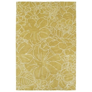 Hand-Tufted Seldon Yellow Floral Stencil Rug (8'0 x 10'0)
