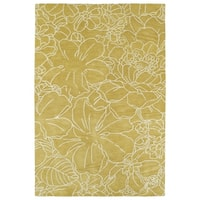 Hand-Tufted Seldon Yellow Floral Stencil Rug - 8' x 10'