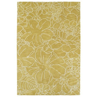 """Hand-Tufted Seldon Yellow Floral Stencil Rug (5'0 x 7'9"""")"""