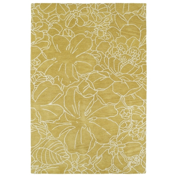 Hand-Tufted Seldon Yellow Floral Stencil Rug - 3' x 5'