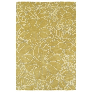 Hand-Tufted Seldon Yellow Floral Stencil Rug (3' x 5')