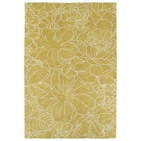 Hand-Tufted Seldon Yellow Floral Stencil Rug - 2' x 3'