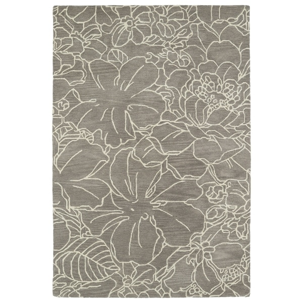 Hand-Tufted Seldon Taupe Floral Stencil Rug (3'0 x 5'0) - 3' x 5'