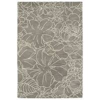 Hand-Tufted Seldon Taupe Floral Stencil Rug - 3' x 5'