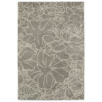 Hand-Tufted Seldon Taupe Floral Stencil Rug - 8' x 10'