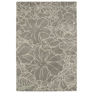 Hand-Tufted Seldon Taupe Floral Stencil Rug (2'0 x 3'0) - 2' x 3'