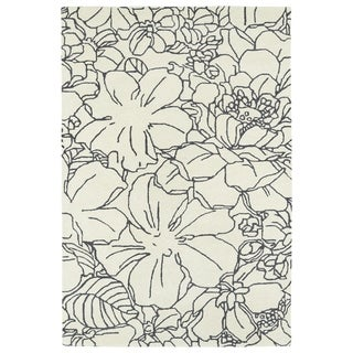 Hand-Tufted Seldon Ivory Floral Stencil Rug (8' x 10')